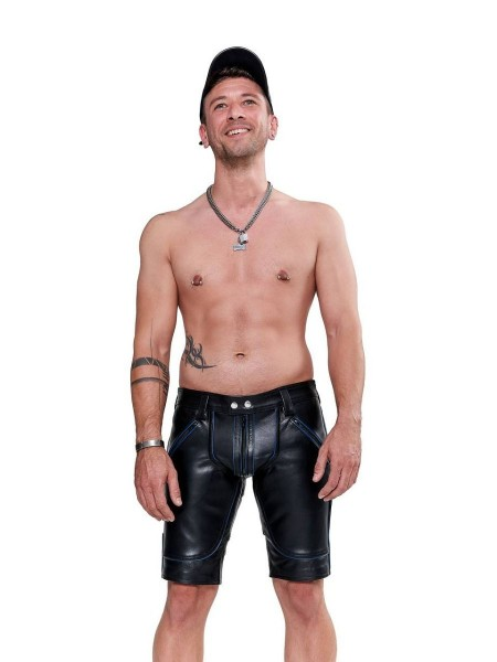 Mister B Leather FXXXer Shorts - Black - Blue Piping