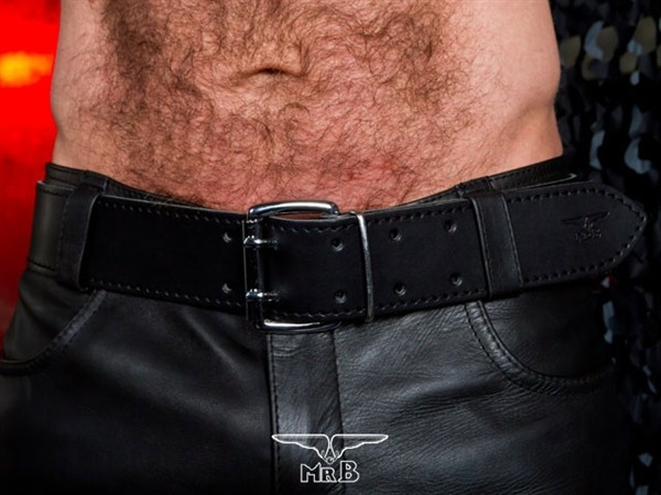 Mister B Leather Belt Stitched 5 cm
