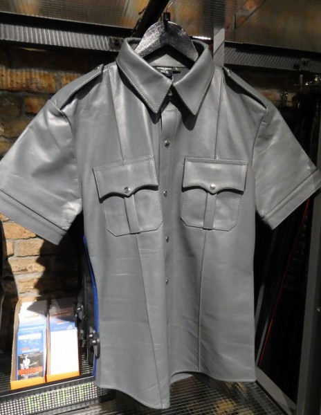 Mister B Leather Police Shirt Short Sleeves Grey w/ Black Piping