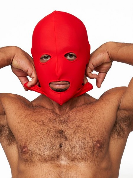 Mister B Lycra Hood Eyes and Mouth Open Red