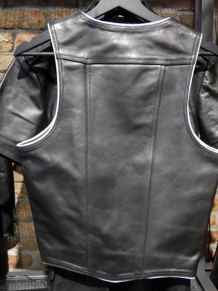 Mister B Leather Muscle Vest - Black w. White Piping