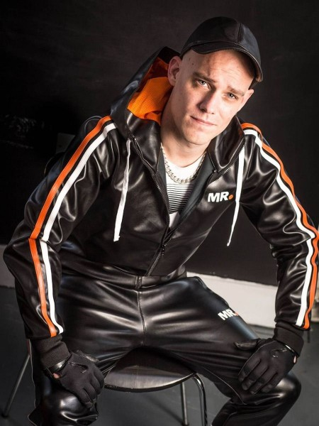 Mr Riegillio MR Tracksuit Jacket - Black - Orange Stripe