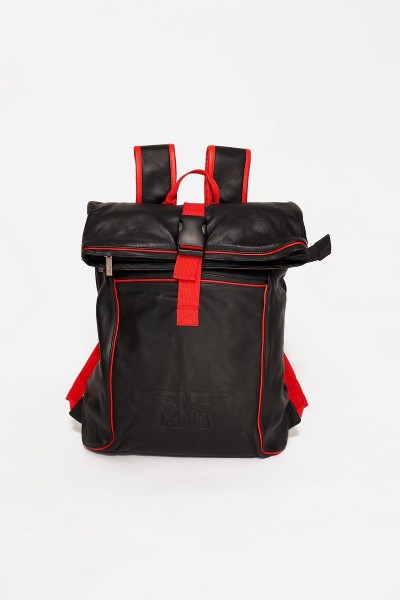 Mister B Leather Backpack - Black/Red