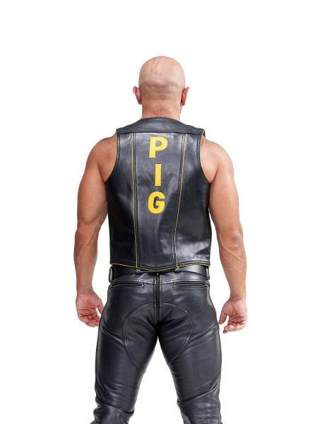 Mister B Leather Muscle Vest Pig Black-Yellow