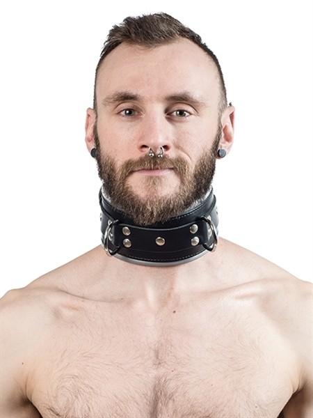 Mister B Leather Slave Collar Grey Padding