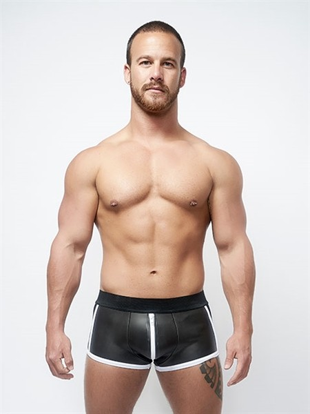 Mister B Neoprene Shorts 3 Way Full Zip Black White
