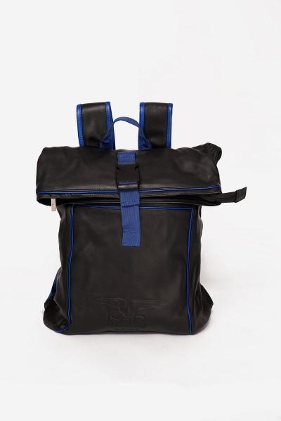 Mister B Leather Backpack - Black/Blue
