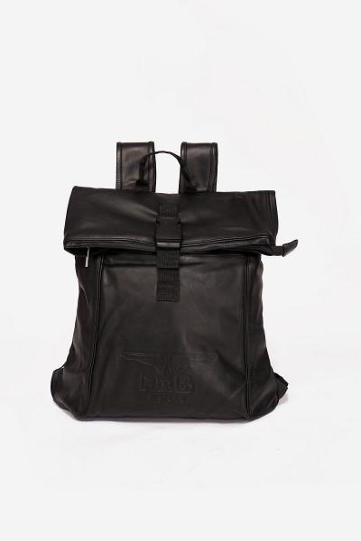 Mister B Leather Backpack - Black/Black