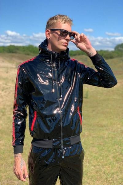 Mr Riegillio PVC Tracksuit Jacket - Red Stripes