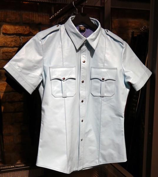 Mister B Leather Police Shirt Short Sleeves - Light Blue
