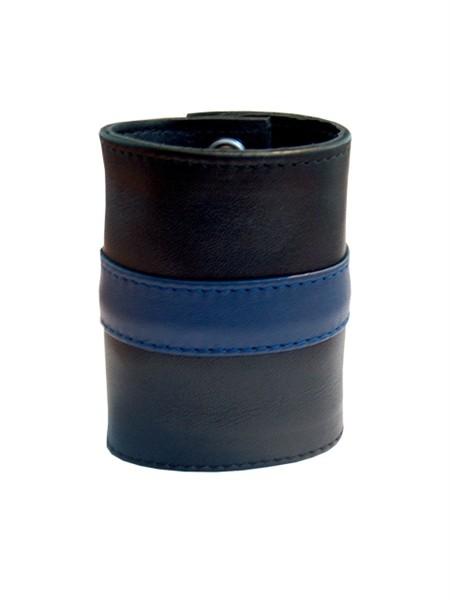 Mister B Leather Wrist Wallet Zip Blue Stripe