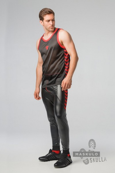 MASKULO S. Fetish Mesh Tanktop - Black/Red
