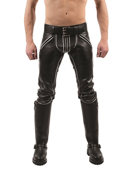 Mister B Leather FXXXer Jeans Black - White Piping