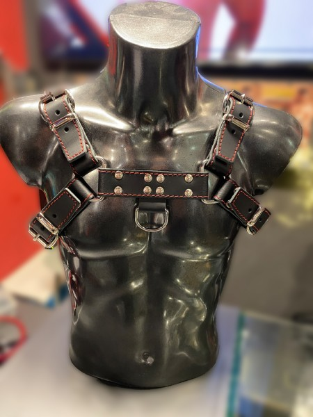 Mister B Leather Chest Harness Saddle Leather Stiched - Red