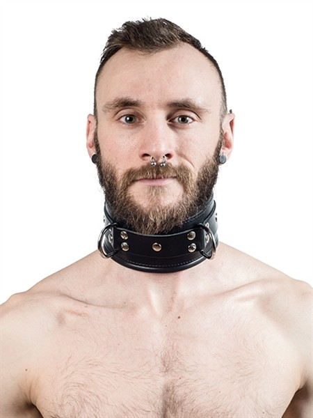 Mister B Leather Slave Collar Black Padding