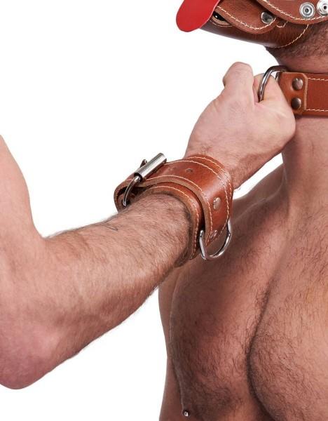 Mister B Leather Wrist Restraints Stitched - Brown