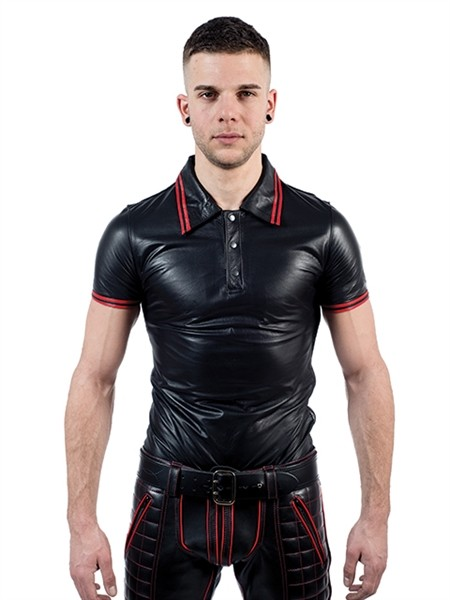 Mister B Leather Poloshirt Red Stripe