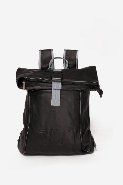 Mister B Leather Backpack - Black/Grey