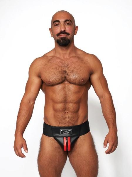 Mister B Leather Premium Jockstrap - Black-Red