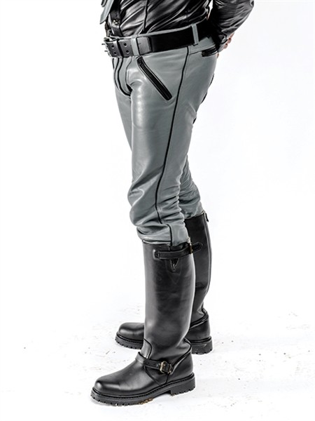 Mister B Leather FXXXer Jeans Grey - Black Piping