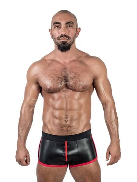 Mister B Neoprene Shorts 3 Way Full Zip Black/Red