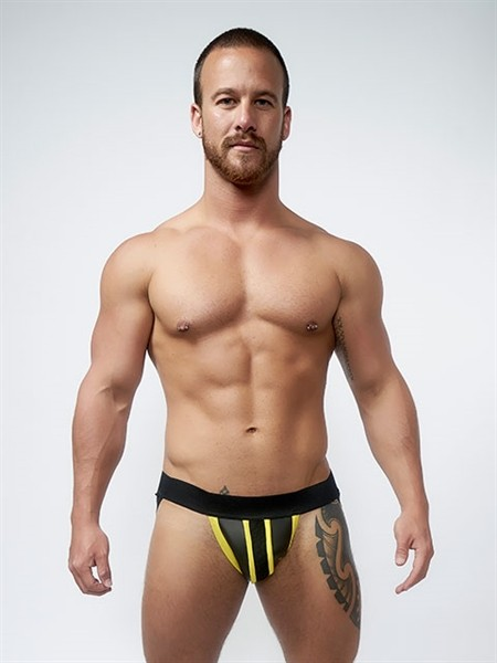 Mister B Neoprene Jockstrap Black Yellow