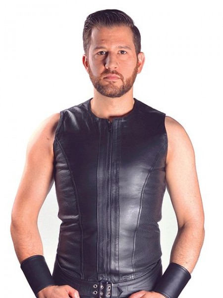 Mister B Leather Sleeveless Vest Zip
