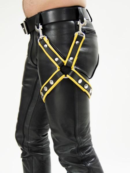 Mister B Leather Leg Harness Black - Yellow