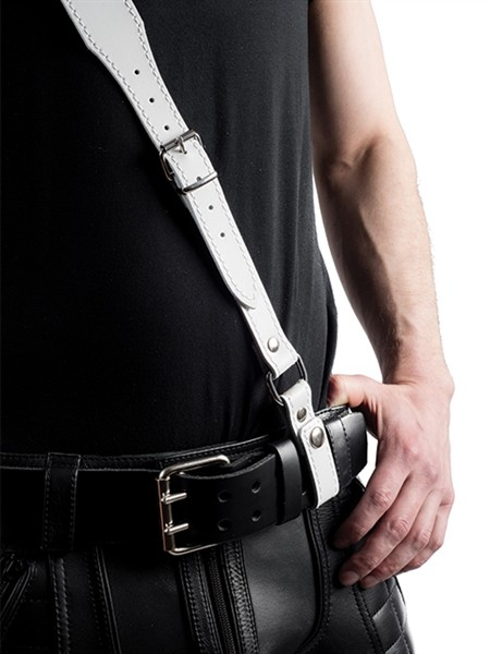 Mister B Leather Sam Browne Belt Stitched - White