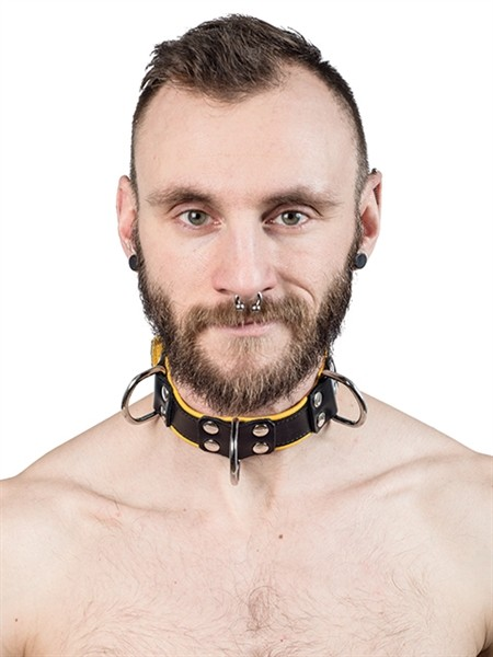 Mister B Leather Slave Collar 4 D-Rings Yellow