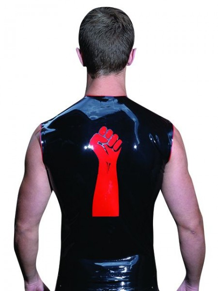 Mister B Rubber Sleeveless FIST T Red Trimming