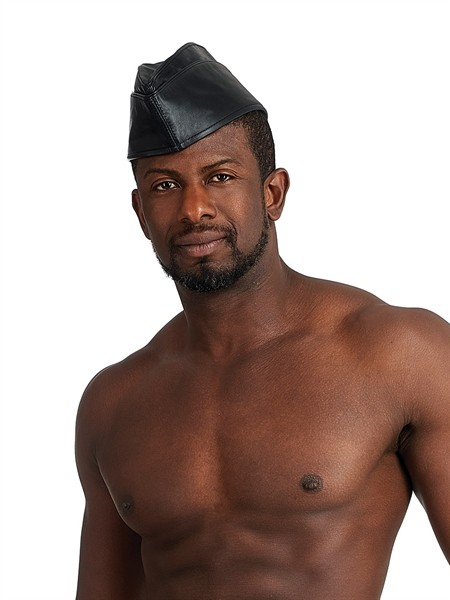 Mister B Leather Schiffchen Cap All Black