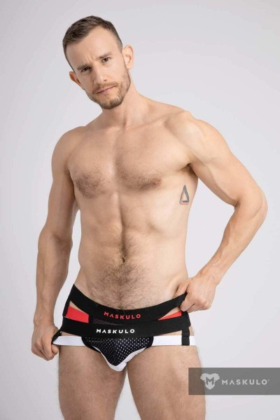 MASKULO S. Jockstraps with 2-layer Pouch - Black/Red
