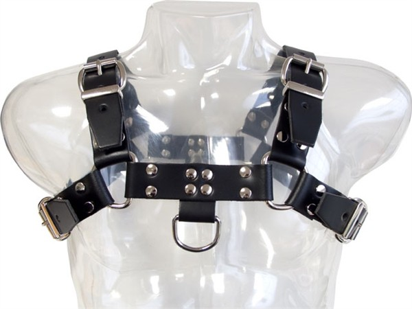 Mister B Leather Chest Harness Saddle Leather Black