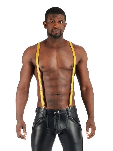 Mister B Leather Suspenders - Yellow