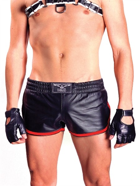 Mister B Leather Sport Shorts Red Stripe
