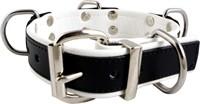 Mister B Leather Slave Collar 4 D-Rings White
